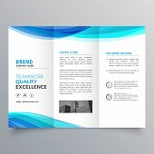 Blue Wave Trifold Brochure Template For Your Business poster