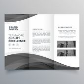 Black Wave Business Trifold Brochure Design Template poster