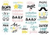 13 Children S Logo With Handwriting Born Awesome, Welcome Baby, Kids Rules, Girls And Boys, Be Happy poster