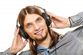 Young Man With Headphones Listening To Music. Guy Relaxing Enjoying. People Relax Leisure Pleasure C poster