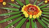 stock photo of rangoli  - Rangoli floral design display Hindu Festival by womenfolk a custom done outdoors or indoors during celebrations like Diwali and Holi landscape horizontal with crop margin - JPG