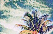 Coco Palm Tree On Sky Digital Illustration In Painting Style. Tropical Vacation Banner Template With poster