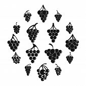 Grape Wine Bunch Icons Set. Simple Illustration Of 16 Grape Wine Bunch Alcohol Logo Vector Icons For poster