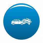 Crashed Car Icon. Simple Illustration Of Crashed Car Vector Icon For Any Design Blue poster