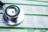 Stethoscope On Spreadsheet Report Paper, Finance, Account, Statistics, Investment, Analytic Research poster