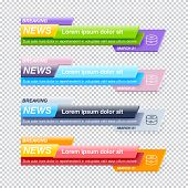 Set Of Breaking News Title Templates On Transparent Background For Tv Channel Screen Or Video Blog.  poster