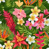 Watercolor Tropical Flowers And Palm Leaves Seamless Pattern. Floral Hand Drawn Background. Exotic B poster