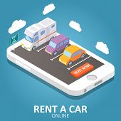 Online Car Rental Concept Vector Isometric Illustration. Smartphone With Car, Trailer, Rent A Car Si poster