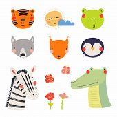 Set Of Cute Funny Hand Drawn Different Animal Faces, Sun, Cloud, Flowers, Butterflies. Isolated Obje poster