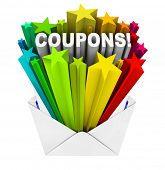 picture of coupon  - An envelope opening to show a burst of stars and the word Coupons to give you special savings so you can redeem a coupon and save when you buy the things you need at a store or online retailer - JPG