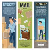 Post Mail Delivery And Postage Service Banners Of Post Shipping Transport And Postman At Work. Vecto poster