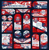 Soccer Football Championship Template. Vector Soccer Team Emblem Set. Design Templates For Football  poster