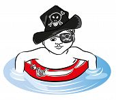 Pirate Boy Pirate Boy Swimming With Rubber Ring In The Sea. Pirate Boy With Rubber Ring And Hat. poster