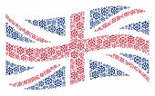Waving Uk Official Flag Concept Composed Of Boat Steering Wheel Elements. Vector Boat Steering Wheel poster