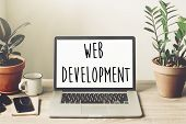 Web Development Text On Laptop Screen On Wooden Desktop With Phone, Notebook, Coffee And Plant. Web  poster