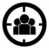People In Target Or Target Audience Icon Black Color Vector Illustration Flat Style Simple Image poster