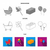 Stroller, Windmill, Lego, Balloons.toys Set Collection Icons In Flat, Outline, Monochrome Style Vect poster