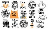 Hand Drawn Lettering Quotes About Cats Collections Isolated On The White Background. Fun Brush Ink V poster