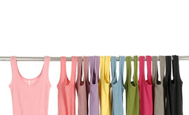 pic of clothes hanger  - Line of colorful shirt rack - JPG
