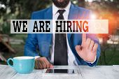 Text Sign Showing We Are Hiring. Conceptual Photo Workforce Wanted Hr Recruiting New Hire Employee V poster