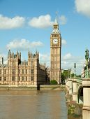 House of Parliament with Big Ben  tower in London UK view from Themes river