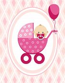 Newborn Baby, Girl, Greeting Card, Pink Rhombus, Vector. A Little Girl In A Pink Stroller. A Pink Ba poster