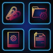 Set Line File Document And Paper Clip, User Manual, Paper Clip And Folder Settings With Gears. Gradi poster