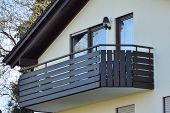 Wooden Balcony Of A Residential Building In A Residential Area Of A European City poster