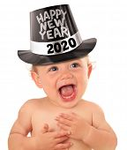 Happy New Year 2020 baby boy. Happy smiling toddler wearing a tophat poster