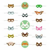 Masks Animals Cute, Great Design For Any Purposes. Cartoon Collection With Masks Animals Cute.   Hol poster