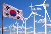 Republic Of Korea (south Korea) Alternative Energy, Wind Energy Industrial Concept With Windmills An poster