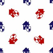 Blue And Red House Under Protection Icon Isolated Seamless Pattern On White Background. Home And Shi poster