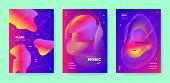 Red Dj Layout. Electronic Party. Purple Gradient Banner. Blue 3d Flow Waves. Colorful Dj Flyer. Elec poster