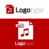 Red Wav File Document. Download Wav Button Icon Isolated On White Background. Wav Waveform Audio Fil poster
