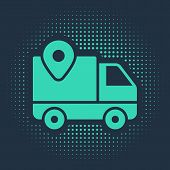 Green Delivery Tracking Icon Isolated On Blue Background. Parcel Tracking. Abstract Circle Random Do poster