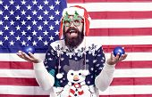 Cheerful Hipster. Great American Christmas. Happy Santa American Flag Background. Bearded American M poster