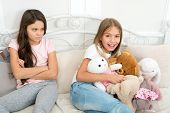 Kids Play Toys In Bed. Little Girls Spend Time Together. Friendship Sisterhood Personal Relations. T poster