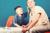 Small Boy With Dad In Hospital. Happy Child With Father With Stethoscope. Family Doctor. Medicine An poster