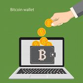 Flat Modern Design Concept Of Cryptocurrency Technology, Bitcoin Exchange, Bitcoin Mining, E-wallet. poster