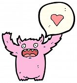 cartoon pink furry love monster poster