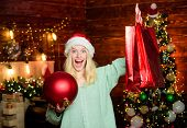 Package With Purchase. Girl Hold Ball To Decorate Interior. Merry Christmas. Glamorous Decorations.  poster