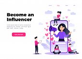 Flat Vector Style Illustration With Characters - Influencer Marketing Concept - Blogger Promotion Se poster