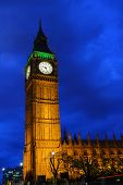 Big Ben And The Palace Of Westminster During The Blue Hour On A Clear Night, London, United Kingdom poster