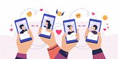 Mobile Dating App. Cartoon Hands Holding Smartphone With Man And Woman Profiles, Service For Finding poster