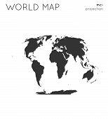 World Map. Globe In Mcbryde-thomas Flat-polar Quartic Projection, Plain Style. Modern Vector Illustr poster