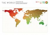 World Map With Vibrant Triangles. Patterson Cylindrical Projection Of The World. Red Yellow Green Co poster