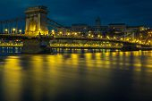 Well Known European Travel Location. Beautiful Night Cityscape Panorama With Stunning Illuminated Ch poster