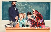 Happy Children Teacher. Back To School. Experimenting With Chemicals Or Microscope At Laboratory. Bi poster