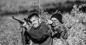 Hunters Brutal Poachers. Forbidden Hunting. Breaking Law. Poaching Concept. Activity For Brutal Men. poster