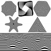 Set Of Abstract Optical Art Elements For Concept Design. 3d Optical Illusion, Line Art. Minimal Geom poster